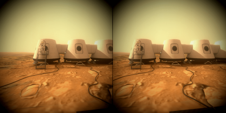 "A stereoscopic screen capture from ""Mars One"" Mission, an example WebVR scene on SketchFab"