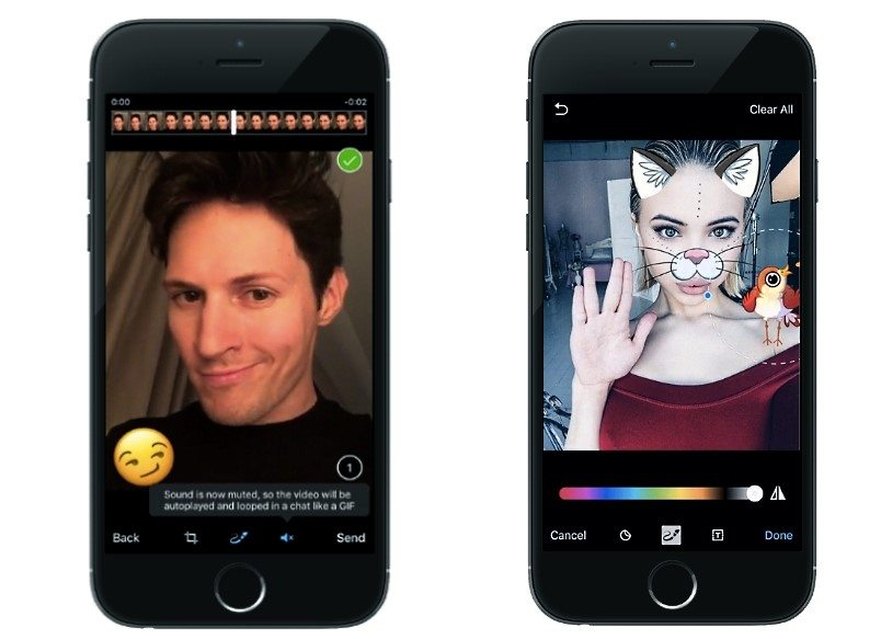 Telegram App Update Adds GIF Creation, Selfie Masks, Enhanced Photo Editing Tools