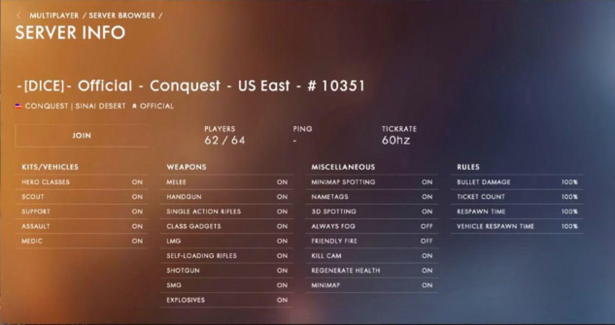 battlefield 1 pc ranked servers