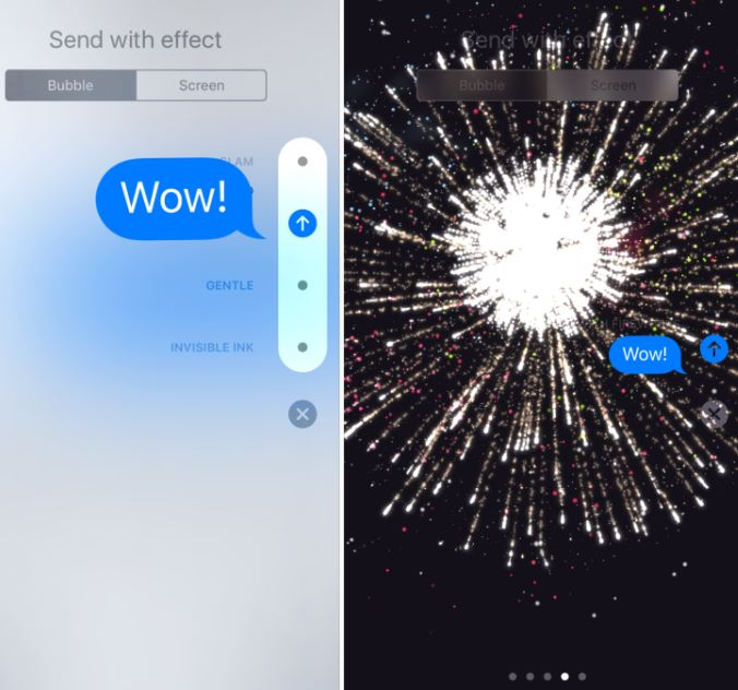 bubble effects shown on left, screen effects shown on right (image source: 9to5 Mac)