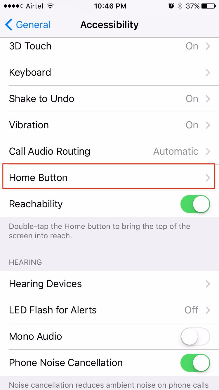 home button iphone accessibility setting