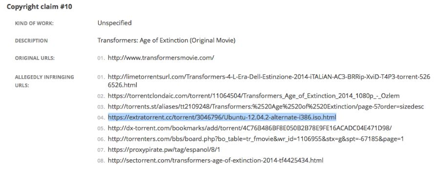 DMCA takedown request mentions Ubuntu infringes on Transformers copyright (image source: omgubuntu)