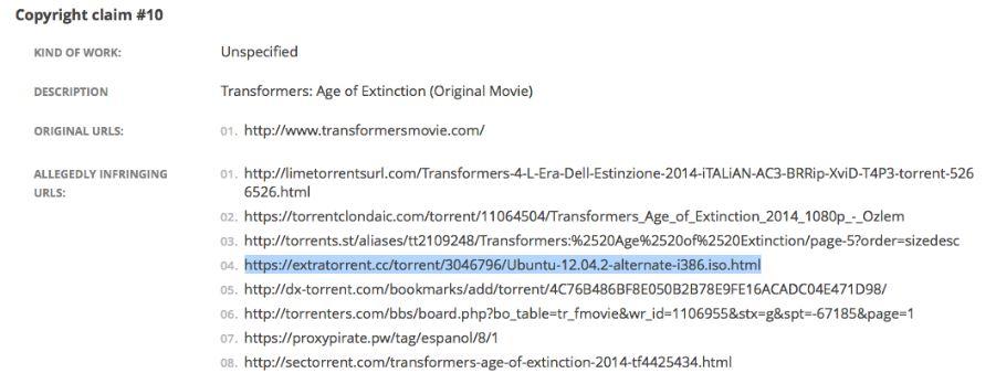 DMCA takedown request mentions Ubuntu infringes on Transformers copyright (image source: omgubuntu)