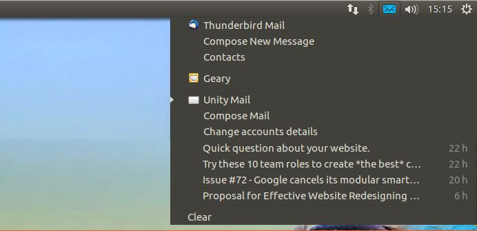 Messaging Menu showing latest e-mails and other links (image source: omgubuntu)