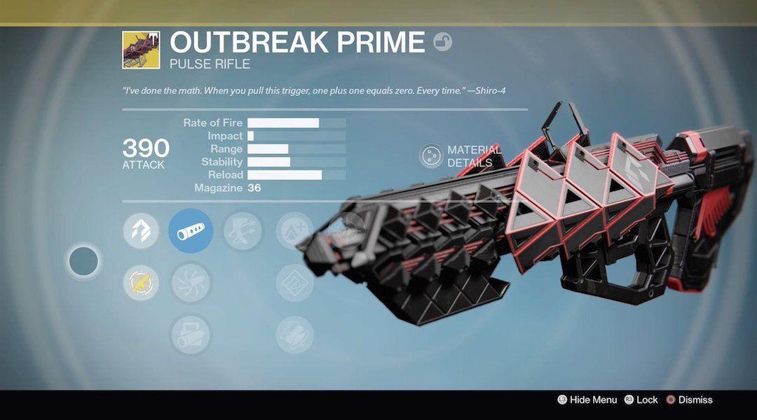 destiny wrath of the machine outbreak prime exotic raid pulse rifle