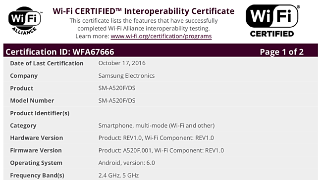 samsung-galaxy-a5-2017-gets-wifi-alliance-wfa-certification