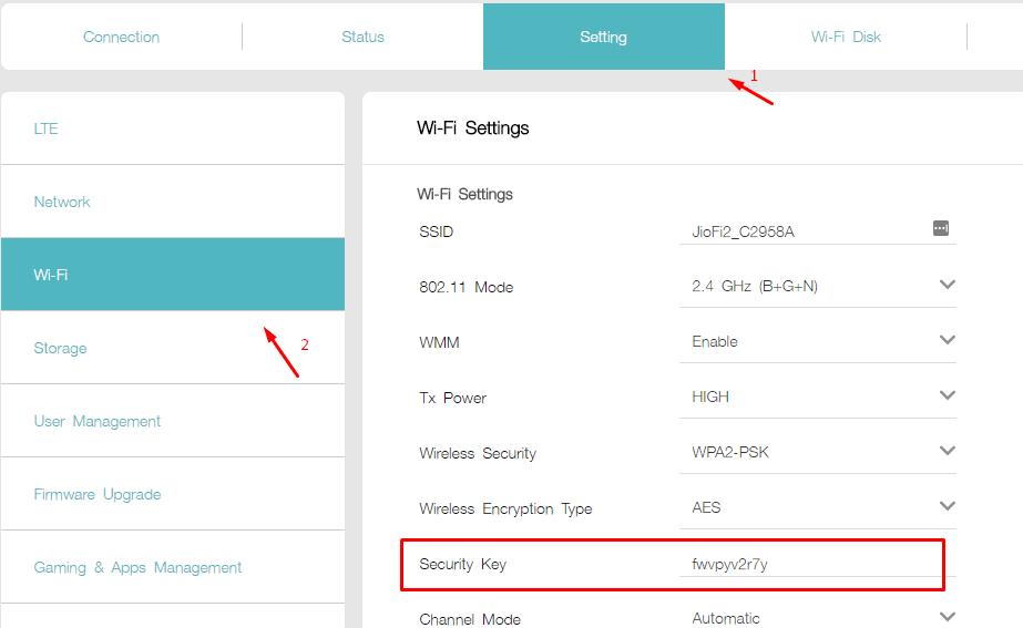 how to change jiofi 2 password