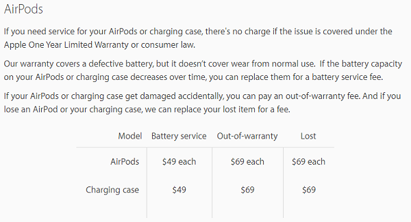 airpods-service-price