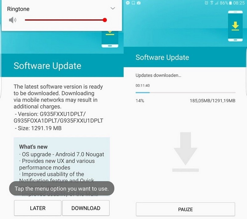 samsung galaxy s7 android nougat update
