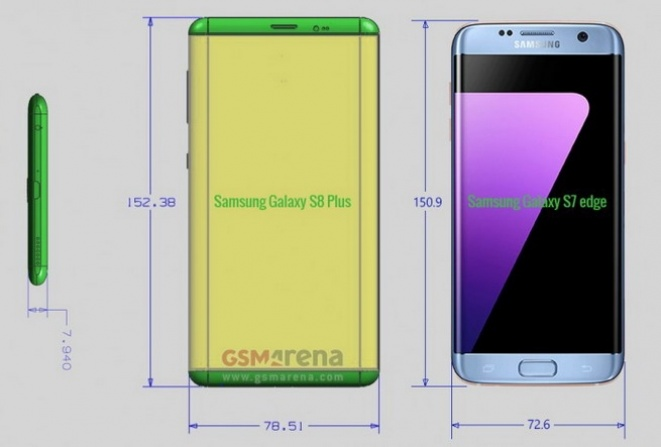 Samsung Galaxy S8 Plus Unofficial Renders Image Courtesy Of GSM Arena