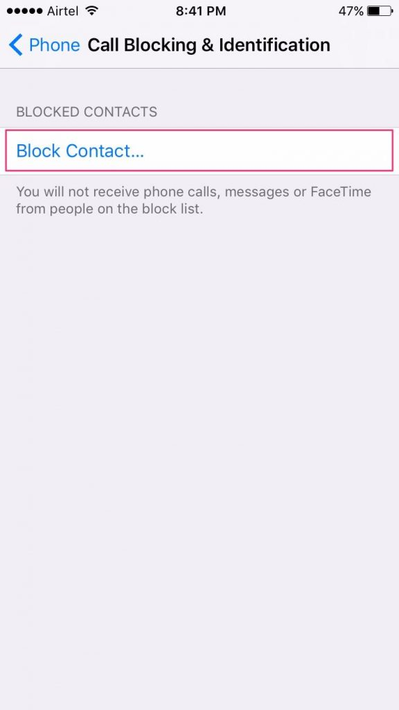 how to block calls in ios 10