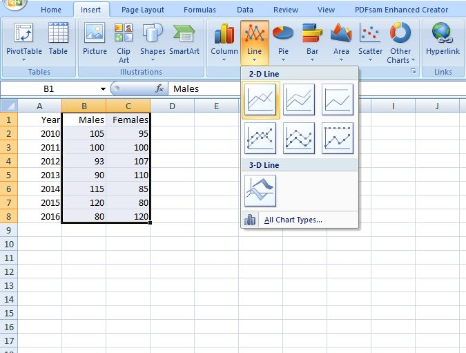 how to create a line graph in Excel
