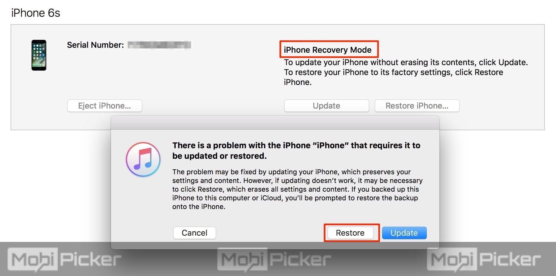 restore iphone to fix itunes error 3194