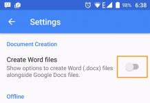 google docs on android feature