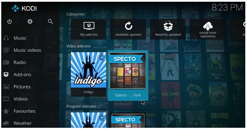 how to install Specto on Kodi 17