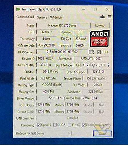 AMD Radeon RX 500 series specs