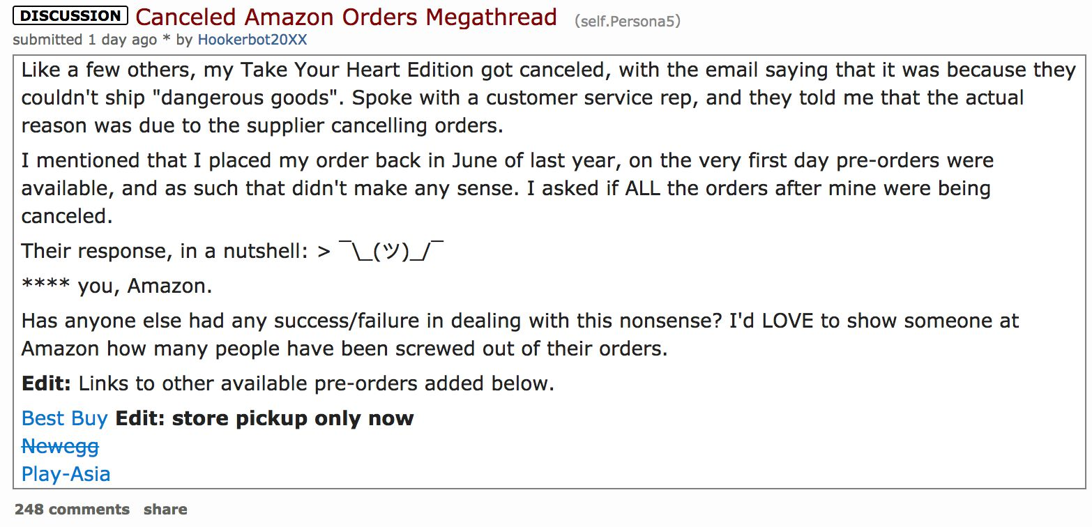 persona 5 amazon pre orders cancellation reddit discussion