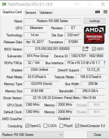 AMD Radeon RX 580 overclocked and benchmarked