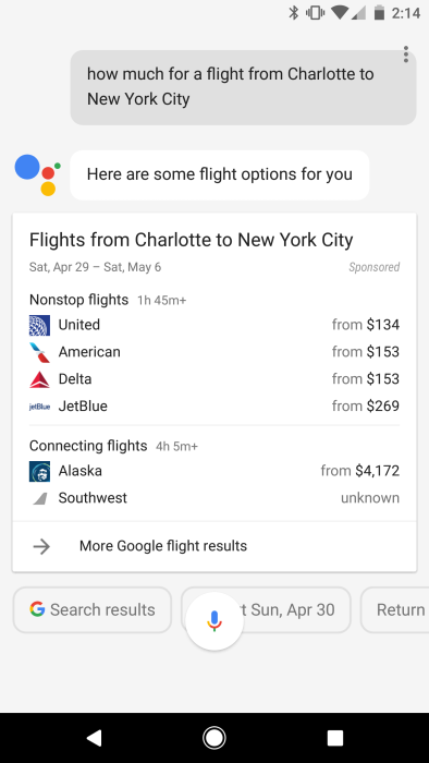 Google Assistant Flight Tracking