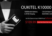 Buy OUKITEL K10000 Pro at half price activity