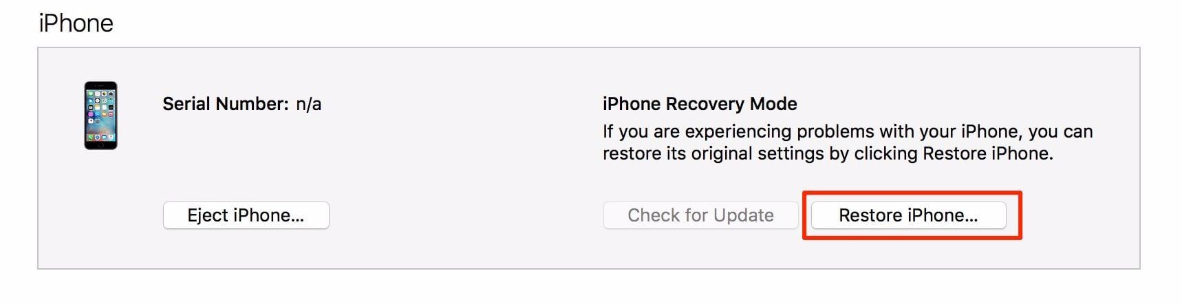 restore iphone when iphone is disabled connect to itunes error appear on screen
