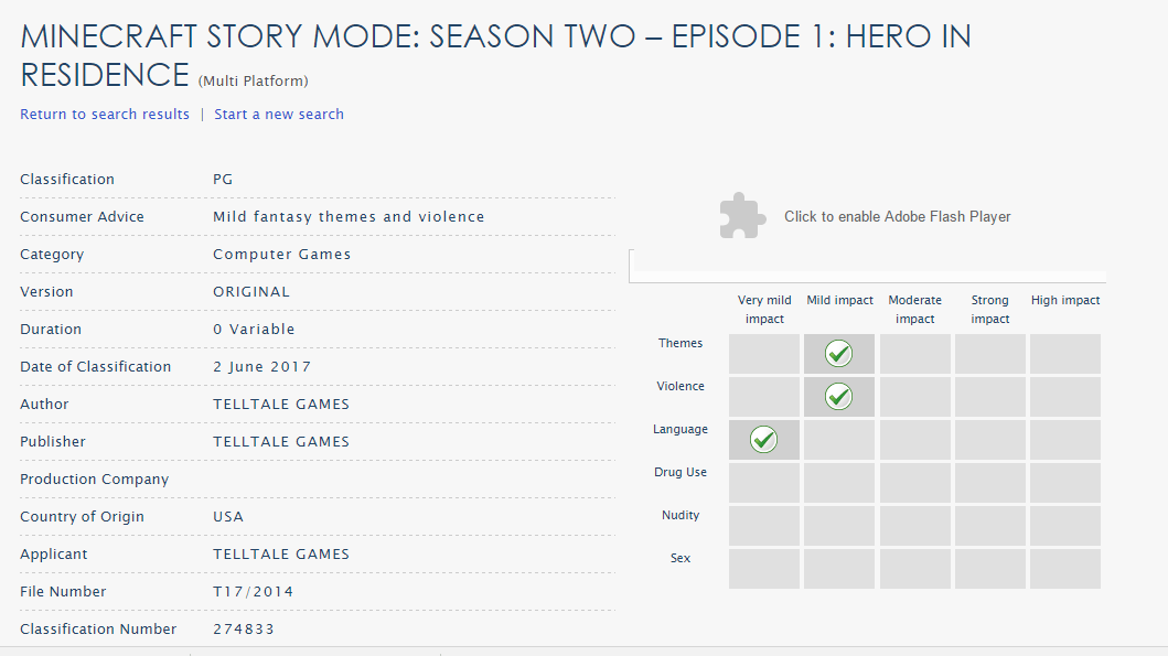 Minecraft Story Mode S02E3 Listing on ACB