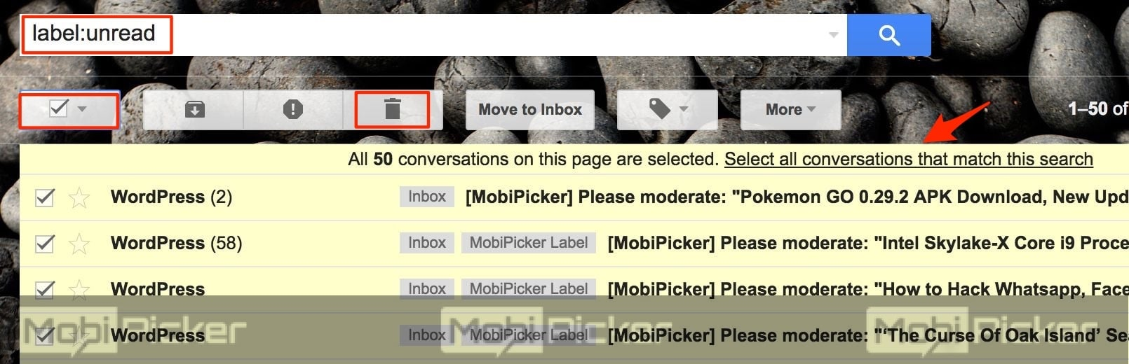 how to delete all unread emails in gmail