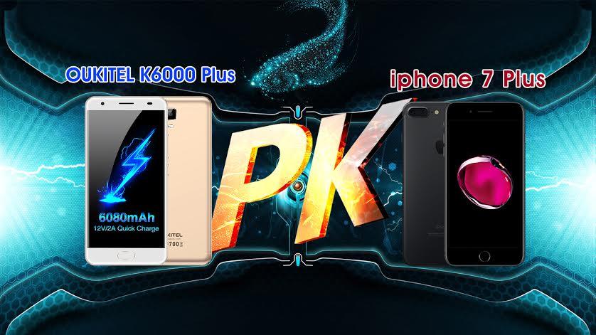 OUKITEL K6000 Plus vs iPhone 7 Plus Charging Speed