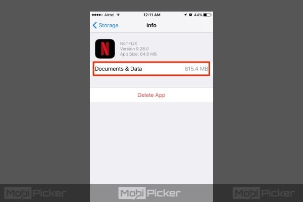 delete documents and data on iphone