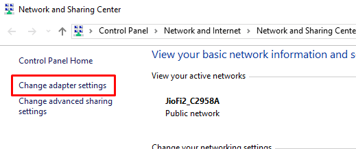 change adapter settings in windows 10