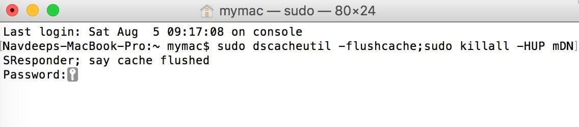 flush dns cache in macbook to fix DNS_PROBE_FINISHED_NXDOMAIN