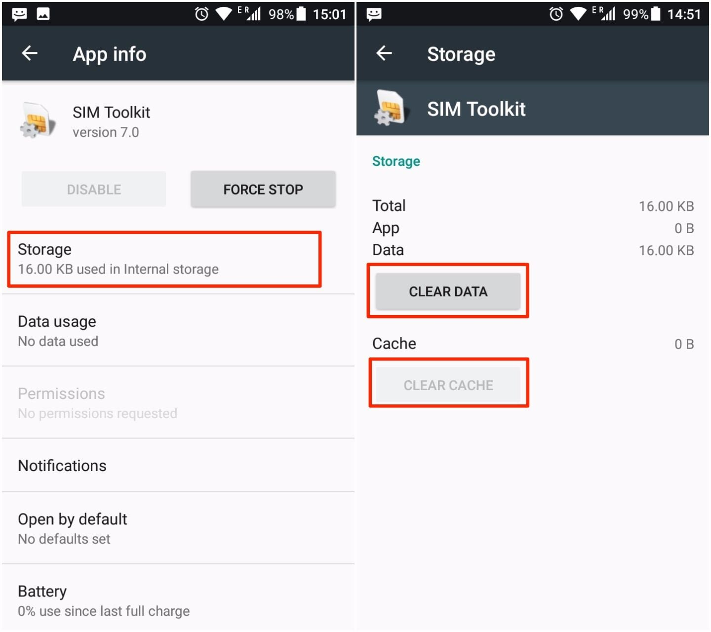 how to fix com.android.phone has stopped by clearing cache and data from sim toolkit