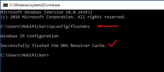 flush dns in windows pc to fix DNS_PROBE_FINISHED_NXDOMAIN error in chrome