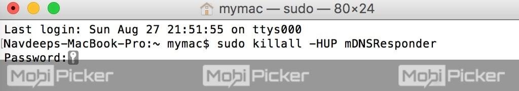 flush dns cache on mac