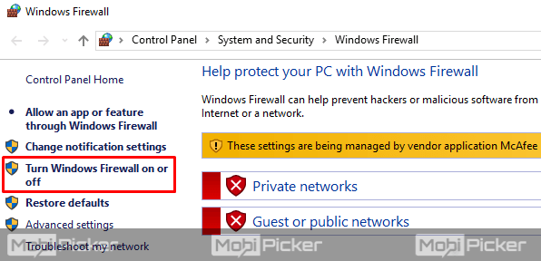 turn off and on windows firewall