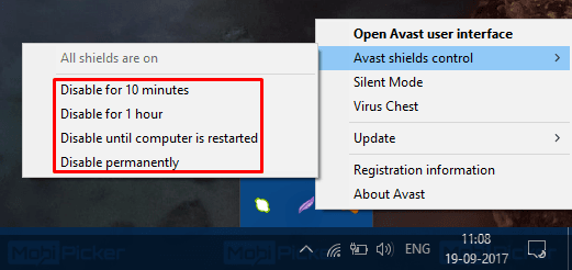 how to disable avast temporarily