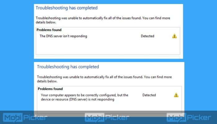 device or resource (dns server) is not responding windows 8.1