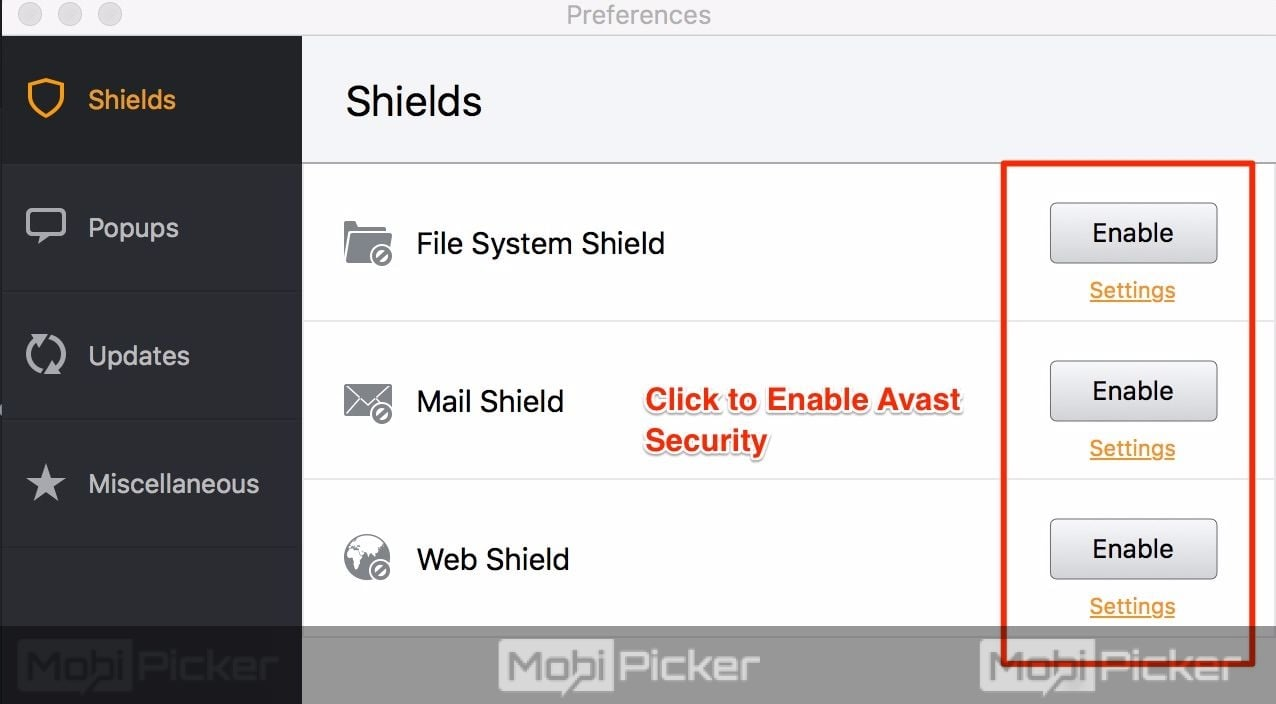 avast shields control disable