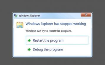 windows explorer has stopped working