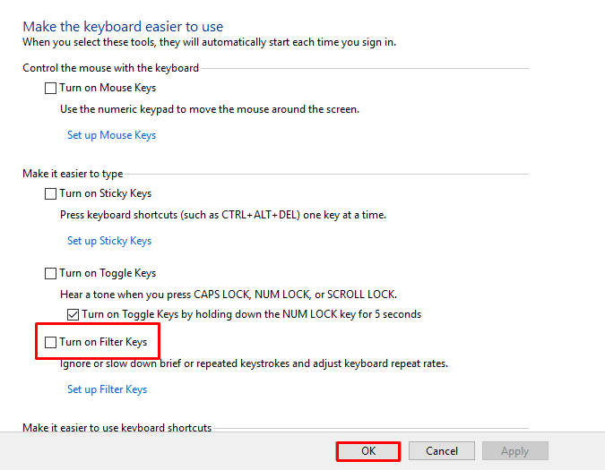keyboard not working in Windows 10