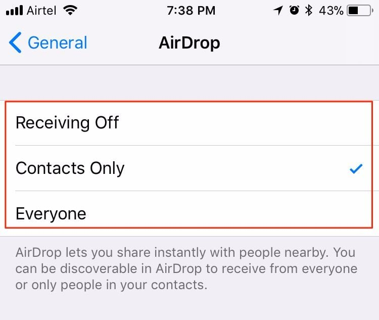 airdrop in ios 11