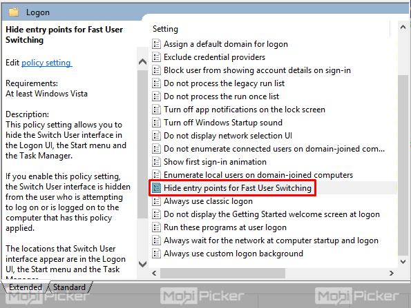 Disable Fast User Switching