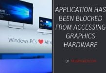 Application Has Been Blocked From Accessing Graphics Hardware